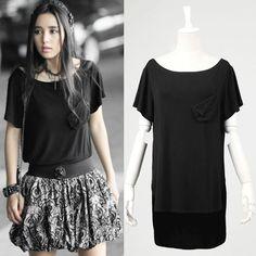 Women Black Short Sleeve Burlesque Pinup Polo T Shirt Tunic Top Clothing SKU-11409126