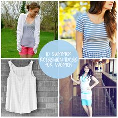 """10 Summer Clothing Refashion Ideas, including how to """"skinnify"""" wide-legged pants!"""