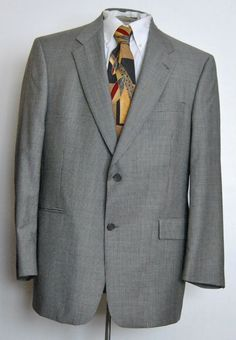 Hart Schaffner & Marx Mens Gray Two Button Pure New Wool Sport Coat 43 R #HartSchaffnerMarx #TwoButton free shipping auction starting at $19.99