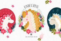 Unicorns - cliparts and patterns by Webvilla on @creativemarket