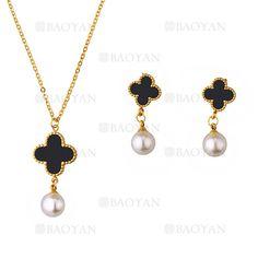 collar y aretes de trebol con perla de dorado en acero inoxidable-SSNEG483484