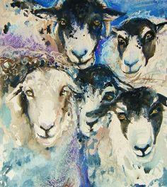 sheep painting-original mixed media watercolor painting Swaledale Herdwick by rachelstockham on Etsy