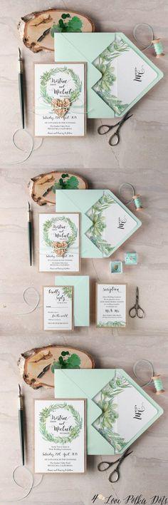 Mint succulent watercolor wedding invitations #greenwedding #lightbluewedding