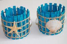 Set of 2 Blue Seashell Candleholder Beach by AmandasWoodWorks