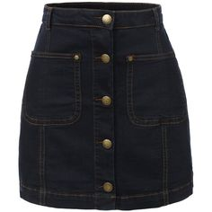 RubyK Womens Vintage Denim A-Line Button Down Mini Skirt at Amazon... ($16) ❤ liked on Polyvore featuring skirts, mini skirts, vintage skirts, a line mini skirt, mini skirt, a-line skirts and short mini skirts