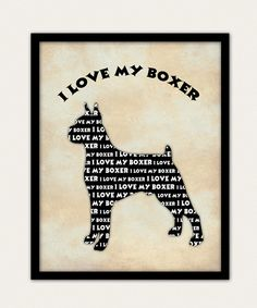 Boxer Dog Silhouette Wall Art Print by Fineartreflections on Etsy, $18.00