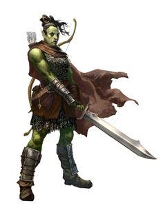 Female Half-Orc Barbarian - Pathfinder PFRPG DND D&D d20 fantasy