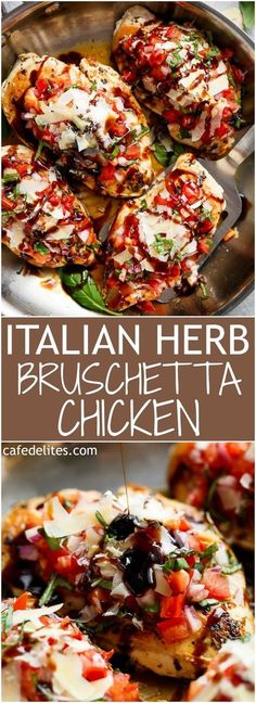 italian herb bruschetta chicken is a low carb alternative to a traditional bruschetta! transform ordinary chicken breasts into a delicious, flavorful meal! Italian Herb Bruschetta Chicken is exactly like the traditional crusty bread version, but … New Recipes, Low Carb Recipes, Healthy Recipes, Recipies, Italian Food Recipes, No Carb Dinner Recipes, Lunch Recipes, Recipes With Fresh Italian Herbs, Simple Recipes