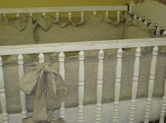 White Handkerchief Linen Nursery Bedding by cottageandcabin, $325.00