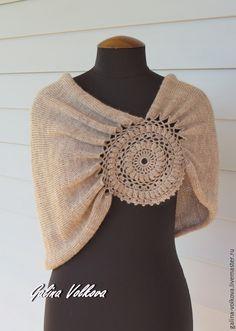Купить Вязаная накидка пончо пелерина Серая шерсть - серый, пончо, вязаное…