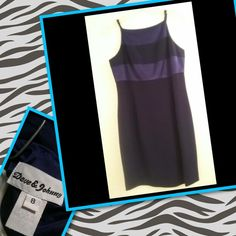 Stylish black and purple dress Dress by Dave & Johnny. Purple accent stripes. Size 8 (very slimming) arrive in style to your next event in this stylish dress. Dave & Johnny  Dresses Midi