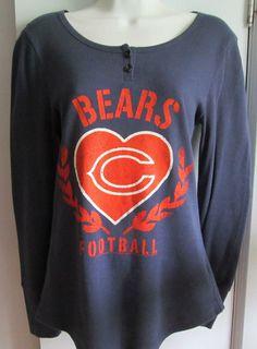 Women s Size Small NFL Chicago Bears Cotton Long Sleeve Heart Love Shirt  Top… 1434432da