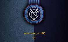 Indir duvar kağıdı New York City FC, 4k, Amerikan Futbol Kulübü, İLKAY, deri doku, logo, amblem, Major League Soccer, New York, ABD, futbol, İLKAY logosu