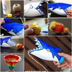 Such a clever and fun use of an old plastic bottle. The aim of the game is to put the fish into the shark's mouth, or to put the bee into the flower. A great summer craft project and game in one.  What you will need: Plastic bottles Kinder surprise eggs (I am sure you can …