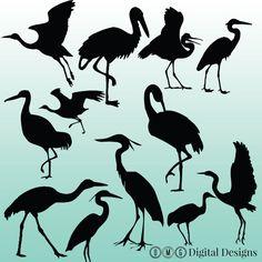 12 Crane Silhouette Clipart Images Clipart от OMGDIGITALDESIGNS
