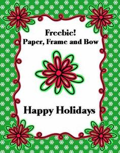 Freebie! Christmas Doodle Frame, Snowflake Paper and Coordinating Doodle Bow (Clip Art) ~ Commercial use welcome.