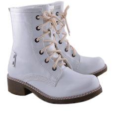 GHETE ALBE DE LAC  129,0 LEI Lei, Dr. Martens, Combat Boots, Shoes, Fashion, Moda, Zapatos, Shoes Outlet, Fashion Styles