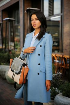 DOWNTOWN GIRL  Blue  Coat  Colorblock  Tote  Bag Work Fashion cb716204be2