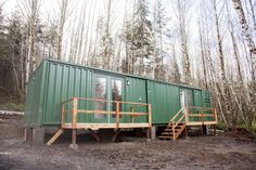 Right after the rough-in of the container home we cleaned it up for a quick winter picture.