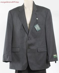 Ralph Lauren OUTLET Lewi Gray Wool Pinstripe Notch Collar Sportcoat Blazer 42 R #RalphLauren #TwoButton