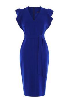 Karen Millen, FRILL WING DRESS Blue
