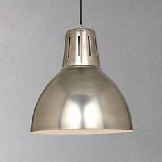 Buy John Lewis Hampton Pendant, Silver from our Ceiling Lighting range at John Lewis. Industrial Home Design, Industrial Cafe, Industrial Interiors, Industrial Lighting, Interior Lighting, Kitchen Lighting, Lighting Ideas, Industrial Windows, White Industrial