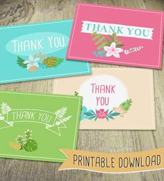 Lovely Floral Printable Thank You Cards