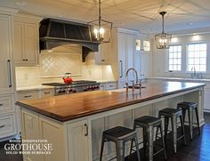 Distressed Walnut Countertop Designed By Studio 76 Kitchens Baths Grothouse Kitchen Islands With Wood Countertops
