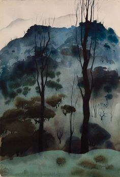 """brazenswing: """" Eyvind Earle Watercolor Landscape 1951 """""""