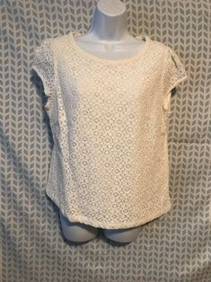 47085c6fb34 Details about Ladies Sequin Lace Floral Lined Top Women Short Sleeve Fancy  Party Crochet Shirt