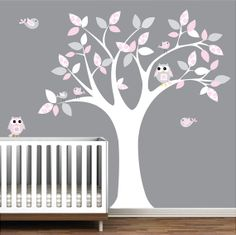 Nursery Decal Baby Nursery Chlidrens Wall Decals Tree With Pattern Leaves  Owls Birds