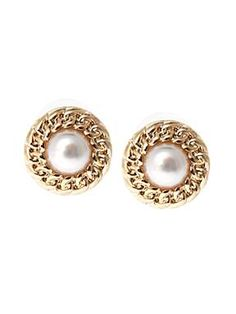 Ziba Vintage White Pearl Earrings With Gold Chain $10