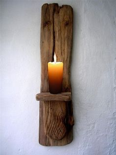 Large Driftwood Candle holder, driftwood candle sconce, tealight holder, made in Ireland by saundra
