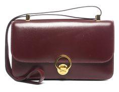 Pre-Owned Hermes Vintage Bordeaux Box Calf Shoulder Bag