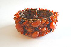 Vintage Stone Cuff Bracelet Chips Orange by TreasureCoveAlly on Etsy