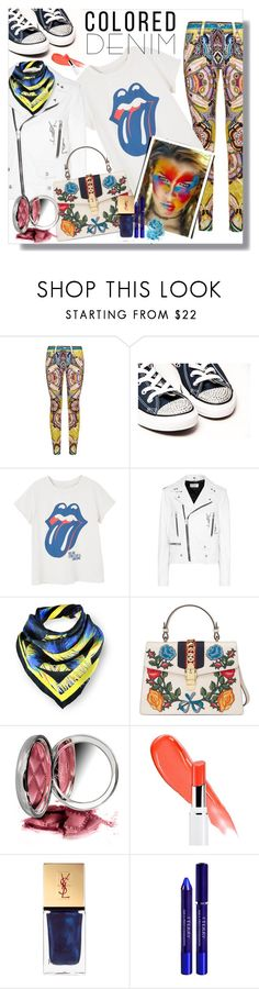 """""""Spring Trend: Colored Denim"""" by flippintickledinc ❤ liked on Polyvore featuring Roberto Cavalli, MANGO, Yves Saint Laurent, Kris Jane, Gucci, By Terry, Lancôme, In Your Dreams and coloredjeans"""