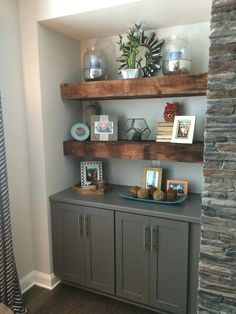 Our beautiful reclaimed wood floating shelves. Flanking fireplace with grey base - Desk Wood - Ideas of Desk Wood - Our beautiful reclaimed wood floating shelves. Flanking fireplace with grey base cabinets located in family room. by molly Home Living Room, Living Room Designs, Alcove Ideas Living Room, Built In Shelves Living Room, Kitchen Living, Built In Cupboards Living Room, Wall Cabinets Living Room, Kitchen Pantry, Kitchen Sink