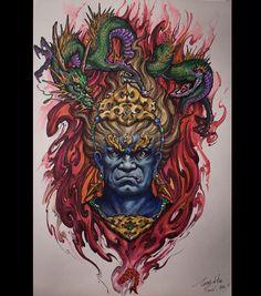 Chronic Ink Tattoo - Toronto Tattoo  Fudo and dragon sketch done by Tony.