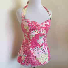 Lilly Pulitzer Vintage Halter Absolutely adorable and ready for summer! White label. See comments for measurements. Lilly Pulitzer Tops