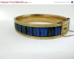 Victorian Revival Gold Filled Blue Glass Hinged Bracelet Dunn Brothers
