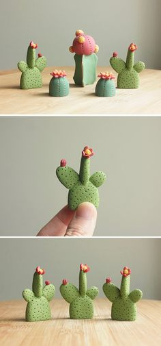 Clay cacti to go on your desk. In a terrarium. On a shelf. Or just in the palm of your hand.
