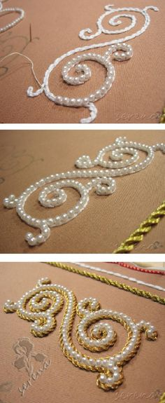 Traditional Russian Pearl-embroidery beading. Bel, then pearls, then gold cord.