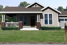 House Plan 461-1 ~ This plan has a traditional bungalow front porch that is perfect for a corner lot. A detached garage version is also available.