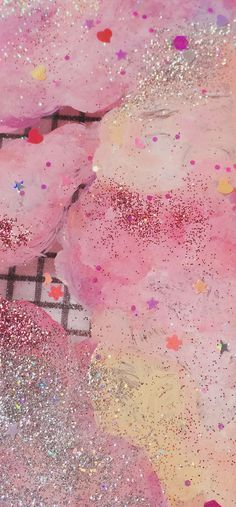 (31) Pink Confetti and Glitter Texture | Candy Overlay | Pastel Stars & Hearts | Glittery | Sparkles | Feminine & Cute | In the Background | Pinterest