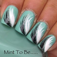 "Beautiful design by bdettennails!!! This is her description....""Mint To Be is a feather mani I created with this FABULOUS new Indie Polish I received by Mint Polish designer @gretamint The formula is incredible. The color is called Original Mint"""