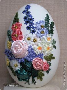Декор предметов Вышивка Букет Скорлупа яичная фото 5