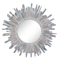 The subtle drama surrounding the looking glass of this decorative wall mirror is created by the irregular shape and placement of distressed wood strips. The white-washed wood frame offers sophisticated texture to traditional interiors. Mirror Wall Art, Wood Mirror, Diy Mirror, Decorative Accessories, Home Accessories, Pretty Bedroom, Whitewash Wood, Traditional Interior, Art Of Living