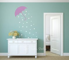 With a Poppins quote...wall in BA at store? Umbrella Stars Decal Wall Sticker - Magical, Rain, Purple, White, Nature, Floating, Drifting, Wind, Whimsical, Fairy, Mary Poppins, Weather