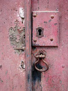 Study of Patina in Dusty Rose Old Doors, Windows And Doors, Door Knobs And Knockers, Old Keys, Door Detail, Peeling Paint, Everything Pink, Door Locks, Dusty Rose