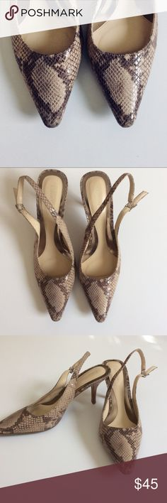 Calvin Klein Snake Print Strap back heels Calvin Klein Snake Print heels with a strap back and buckle closure. No wear to the sole. Box not included. Size 9. Shoes Heels